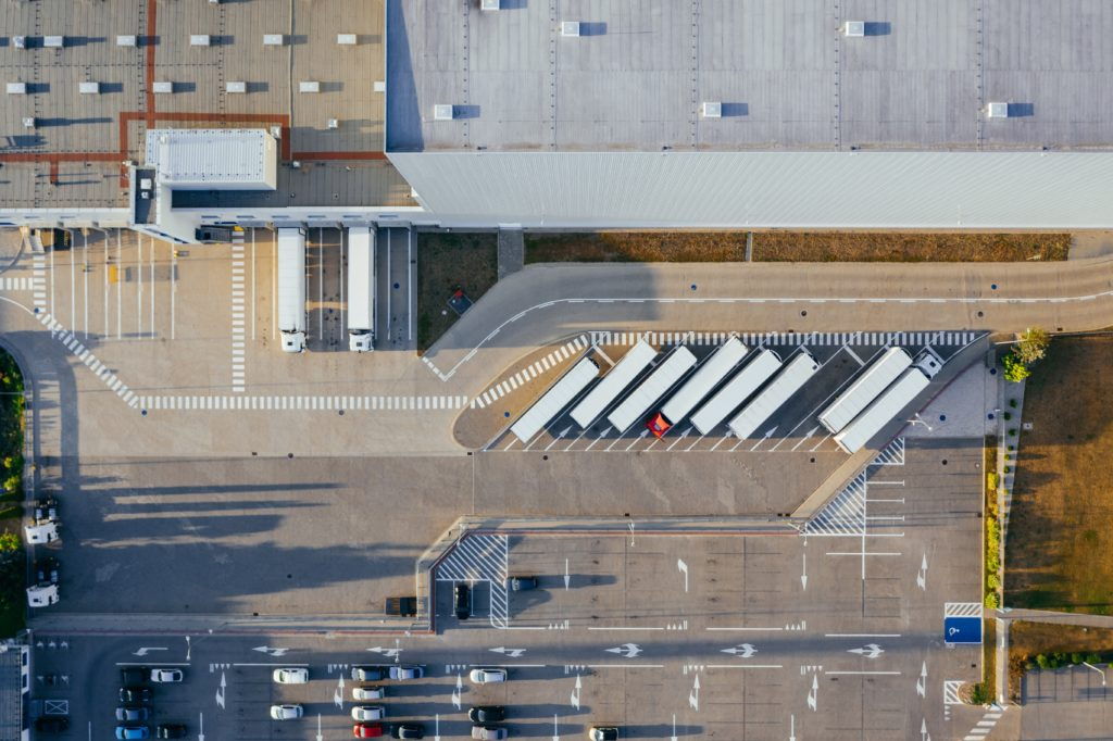Aerial view of a commercial roof for a manufacturing plant.