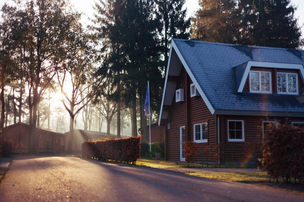 house tiled roof and trees