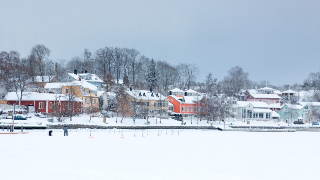 SNOW COVERED HOMES IN TOWN